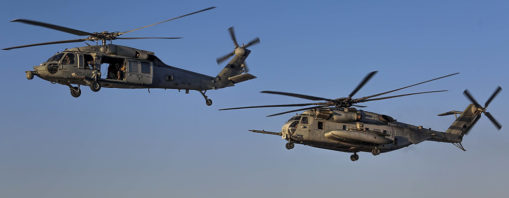 CH-53E Super Stallion and an MH-60S Sea Hawk